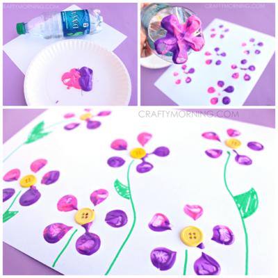 bottle-print-button-flower-craft-for-kids-