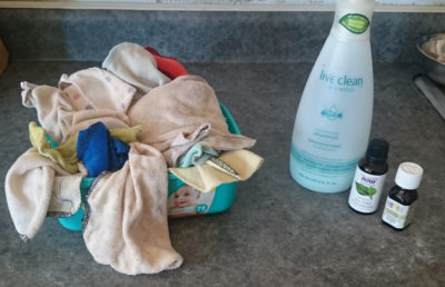 Baby cloths, baby soap, lavender, tea tree oil